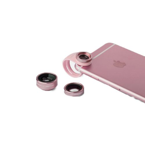 MOMAX ^3合1 鋁金屬手機鏡頭套裝 玫瑰金