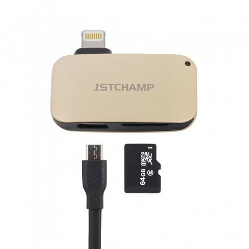 First Cham MFI Lightning Card Reader Gold
