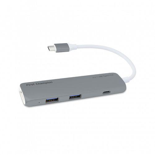 First Cham Type C Hubs [2 USB3.0 + HDMI] Grey