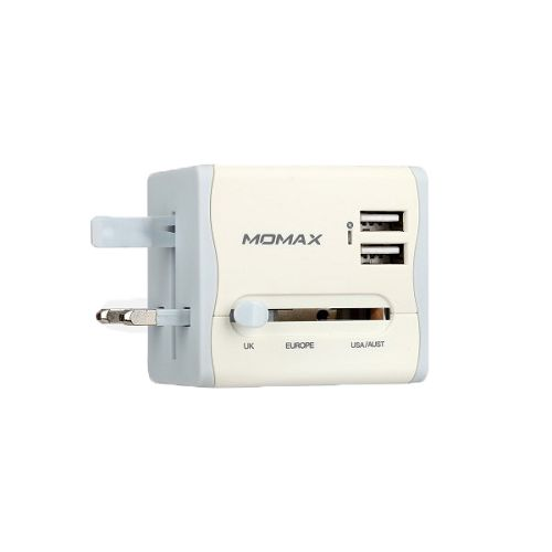 MOMAX ^1-World 2*USB[10.5W] 萬用旅行插頭 白