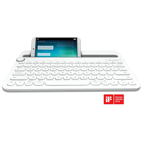 Logitech Multi-Device Bluetooth Keyboard-TW K480 White
