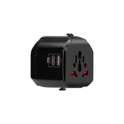 MOMAX ^1-World 2*USB[12.5W] 萬用旅行插頭 黑