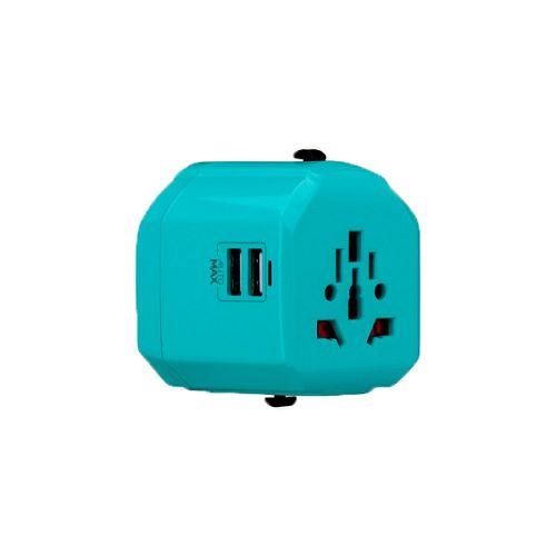MOMAX ^1-World 2*USB[12.5W] 萬用旅行插頭 湖藍