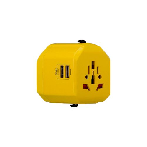 MOMAX ^1-World 2*USB[12.5W] 萬用旅行插頭 黃