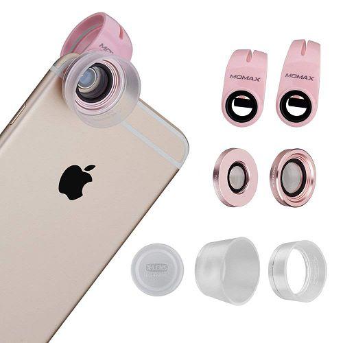 MOMAX ^10x/15x/30x 鋁金屬手機微距鏡頭套裝 玟瑰金