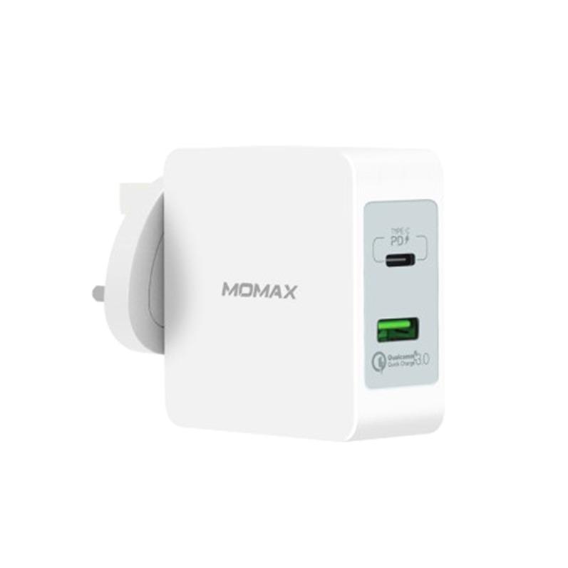 MOMAX ONEPlug 48W 雙插口快速充電器 PD/QC3.0 白