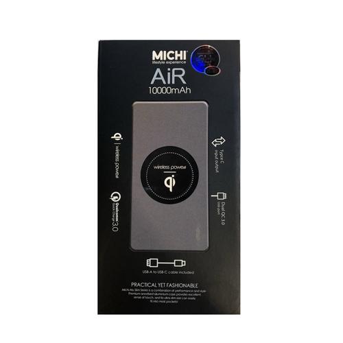 Michi Air 10000mAh 雙QC3.0/10W Qi/TypeC PD充電 Space Grey