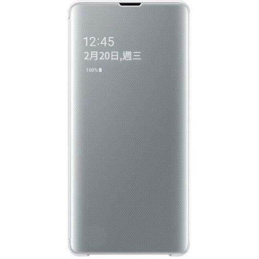 Samsung S10+ 鏡面透視感應皮套 white