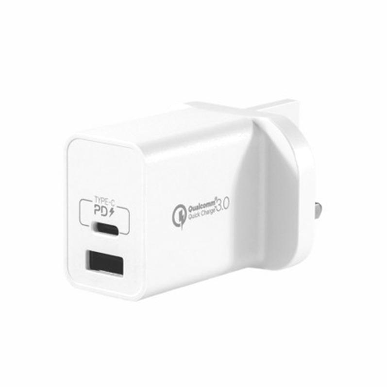 MOMAX [i/換]ONEPlug 18W PD/QC3.0雙口快速充電器 白