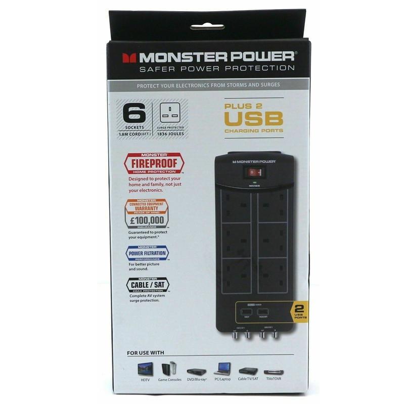 Monster [i] 六位+雙USB[2.1A]濾波拖板 MP EXP600AVU UK