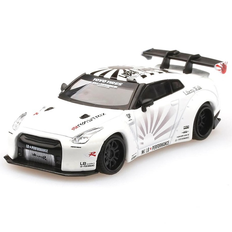 MINI GT LB*WORKS Nissan GT-R R35 Type-1 RHD White Rear Wing v1+2