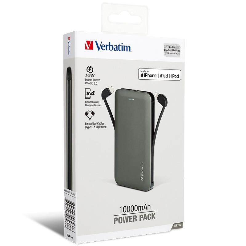 Verbatim 10000mAh PD & QC3.0 嵌入線材充電池[18W] 灰 [MFI;TypeC 線]