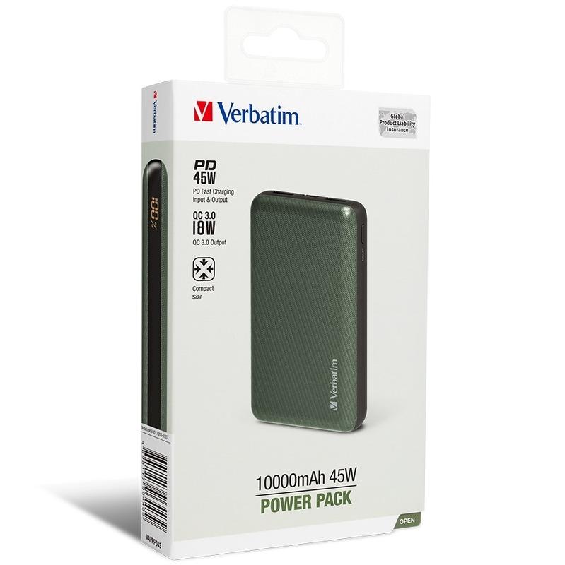Verbatim 10000mAh 45W流動充電池[PD 45W/QC3.0 18W] 綠