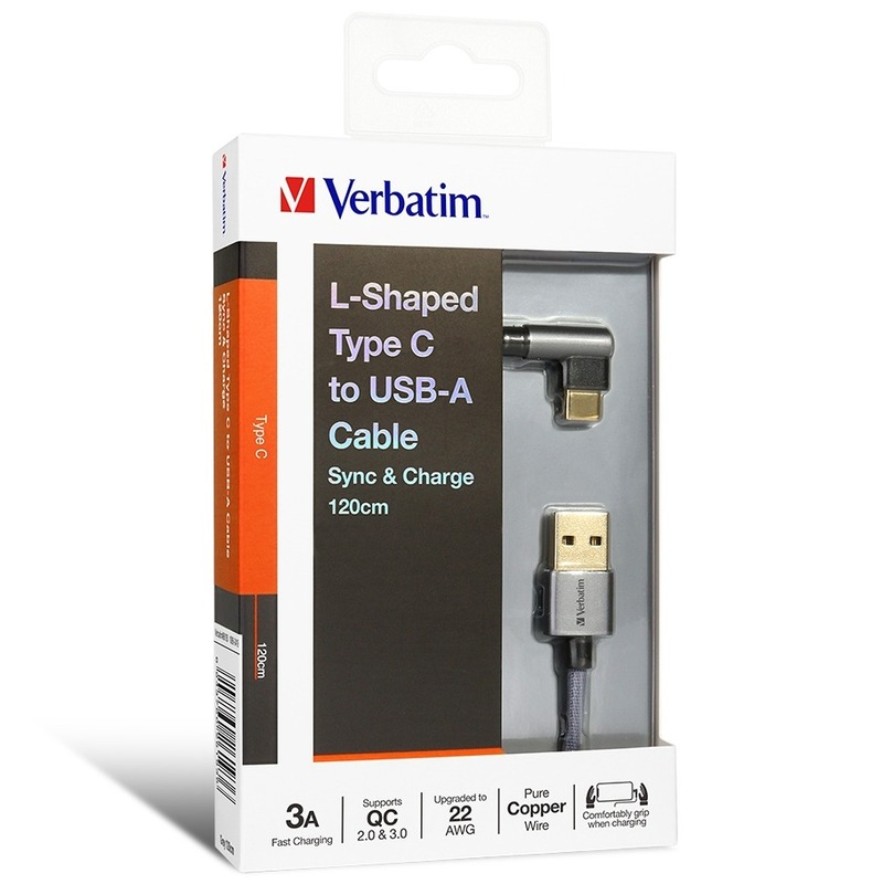 Verbatim L-Shaped Type C to USB-A Cable 灰