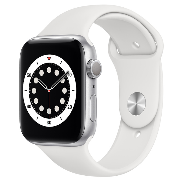APPLE Watch S6 GPS 44mm Silver/White Sport Band-Regular