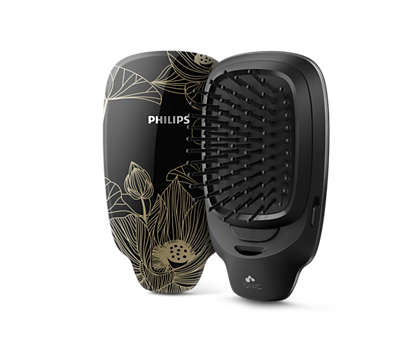 PHILIPS 負離子造型梳 HP4722/20 黑色金花紋