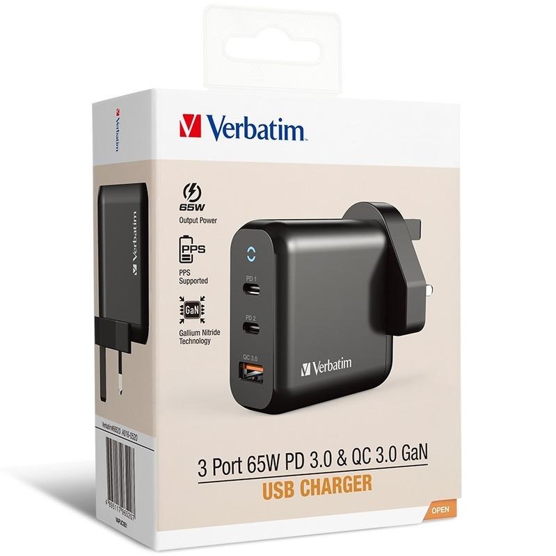 Verbatim 3 Ports 65W PD 3.0 & QC3.0 GaN USB充電器 黑