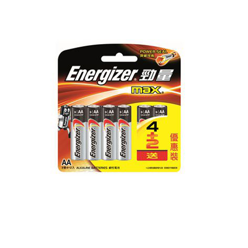 ENERGIZER 勁量鹼性電芯2A-4+2粒咭裝 E91BP4+2