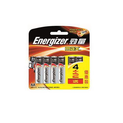 ENERGIZER 勁量鹼性電芯3A-4+2 粒咭裝 E92BP4+2