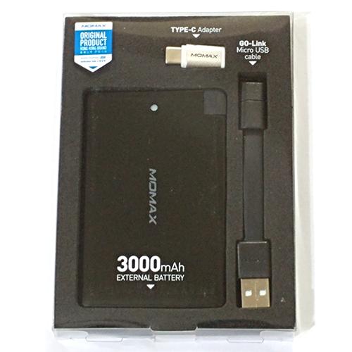 MOMAX [7]3000mAh MicroUSB薄電源[配TypeC轉換頭] Black