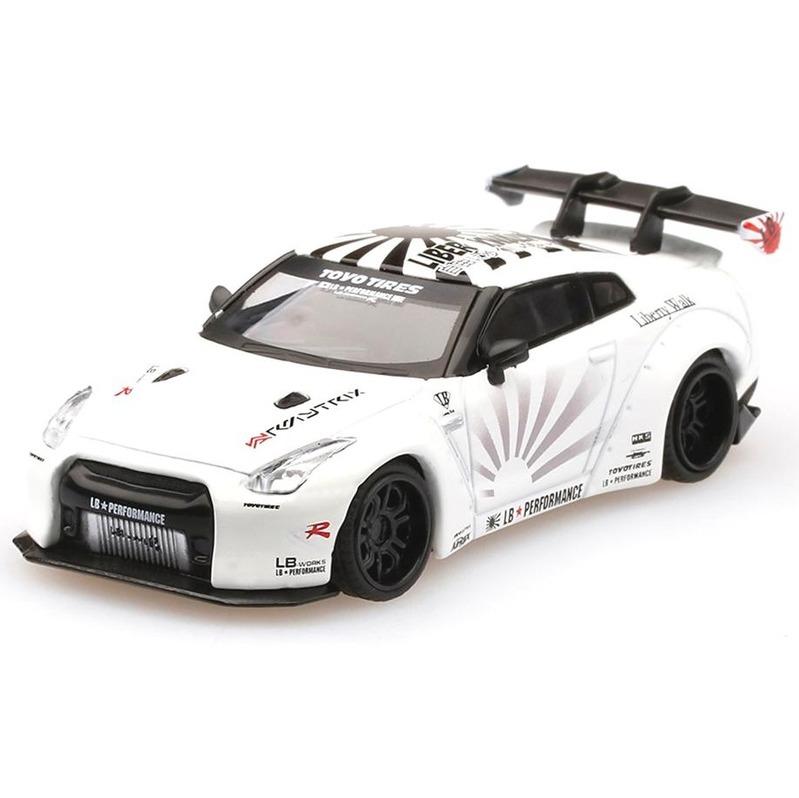 MINI GT LB*WORKS Nissan GT-R R35 Type-1 RHD White Rear Wing v1+2