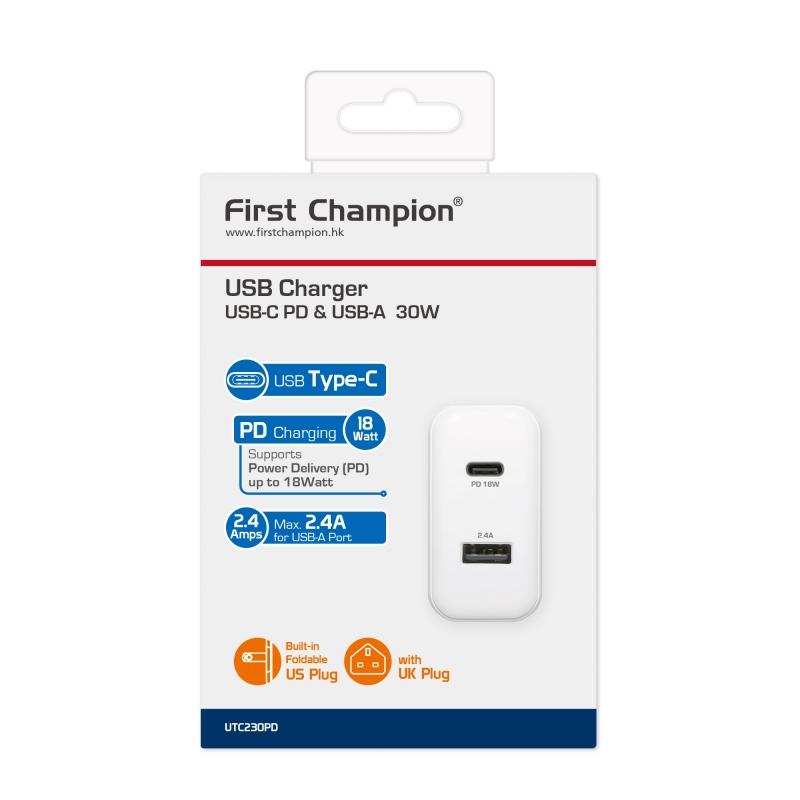 First Cham USB 2.4A + Type-C PD 18W 旅行充電座