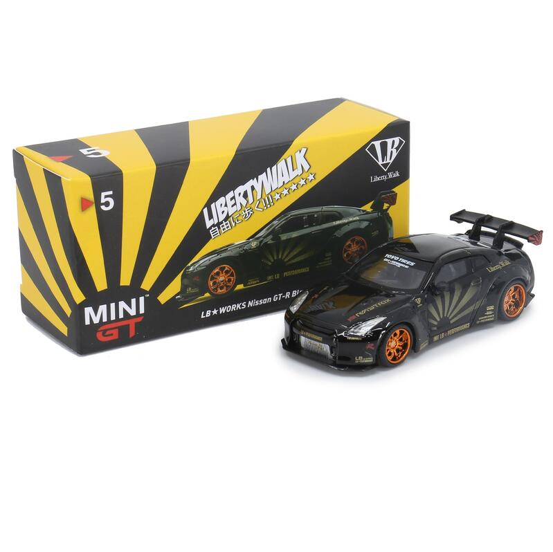 MINI GT LB*WORKS Nissan GT-R R35 Type1[WingV1+2] Black w/Copper Wheel