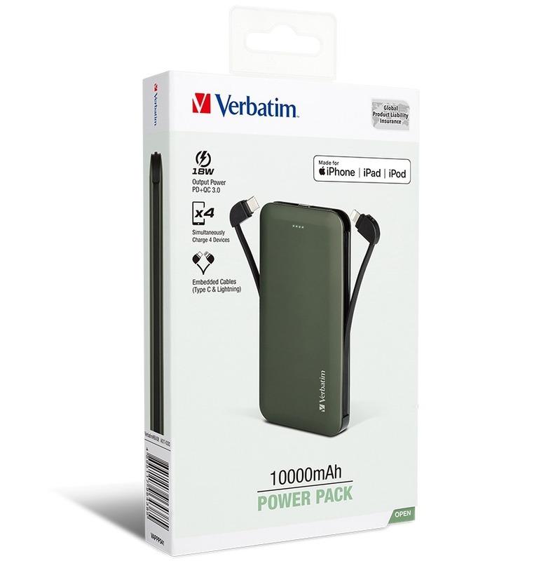 Verbatim 10000mAh PD & QC3.0 嵌入線材充電池[18W] 綠 [MFI;TypeC 線]