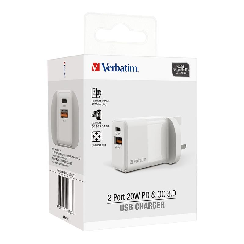 Verbatim [i/換] 2 Port 20W PD & QC 3.0 USB充電器 白
